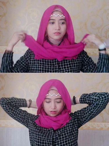 Tutorial Hijab Kasual dengan Headpiece ala Natasha Farani