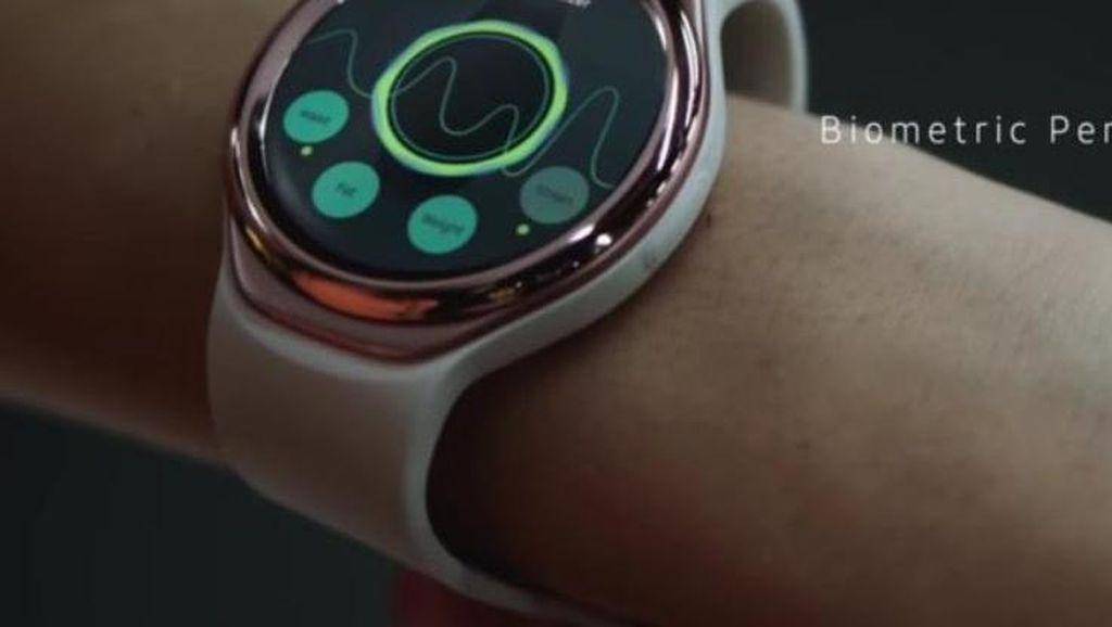Desain ala smartwatch yang diusung Triathlon juga tampak premium karena menggunakan bezel bernuansa gold. (kredit foto: phonearena