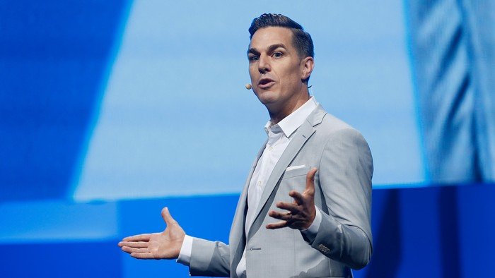 LOS ANGELES, CA - JUNE 15:  Electronic Arts Chief Executive Officer Andrew Wilson speaks during the Electronic Arts E3 press conference at the LA Sports Arena on June 15, 2015 in Los Angeles, California. The EA press conference is held in conjunction with the annual Electronic Entertainment Expo (E3) which focuses on gaming systems and interactive entertainment, featuring introductions to new products and technologies.  (Photo by Christian Petersen/Getty Images)