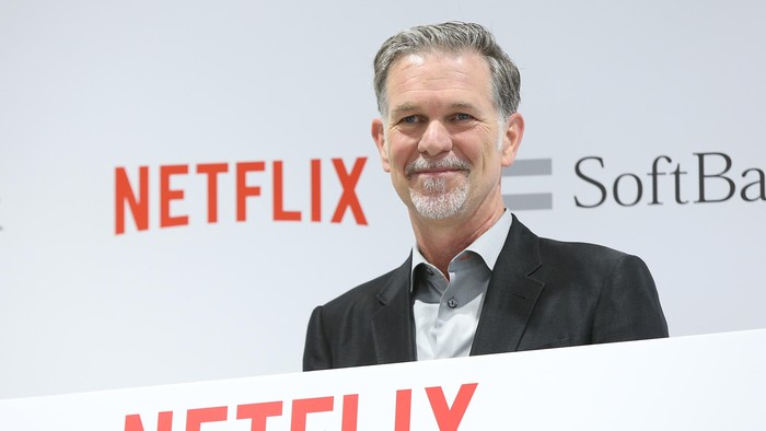 TOKYO, JAPAN - SEPTEMBER 02:  Reed Hastings, founder and CEO of Netflix Inc. attends the launch event for Netflix service in Japan at SoftBank Ginza store on September 2, 2015 in Tokyo, Japan. Netflix Inc. partnered with Japans SoftBank Group Corp. for the Japan launch of its video-streaming service on September 2, 2015.  (Photo by Ken Ishii/Getty Images)