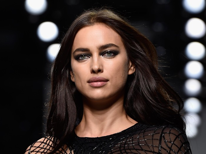 PARIS, FRANCE - JANUARY 24:  Irina Shayk poses Backstage prior the Versace Spring Summer 2016 show as part of Paris Fashion Week on January 24, 2016 in Paris, France.  (Photo by Pascal Le Segretain/Getty Images)