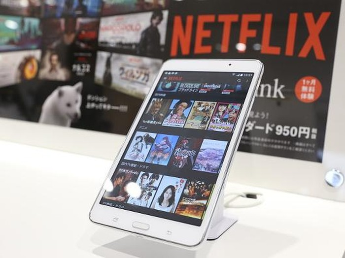 TOKYO, JAPAN - SEPTEMBER 02:   A smart phone sits on display during the launch event for Netflix service in Japan at SoftBank Ginza store on September 2, 2015 in Tokyo, Japan. Netflix Inc. partnered with Japans SoftBank Group Corp. for the Japan launch of its video-streaming service on September 2, 2015.  (Photo by Ken Ishii/Getty Images)