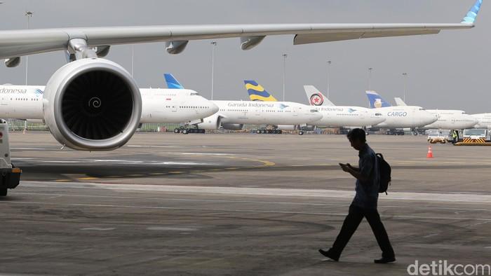 Pesawat Garuda Indonesia di Bandara Soekarno-Hatta.