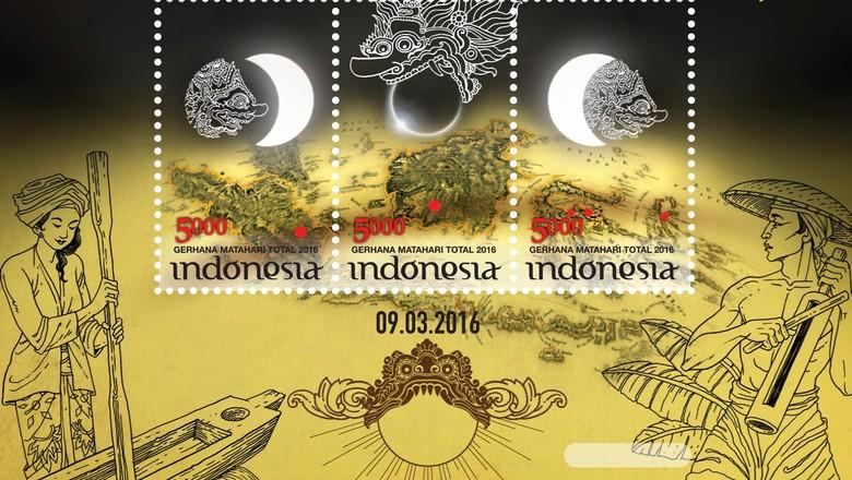 Prangko Khusus Gerhana Matahari Total 2016 di Indonesia