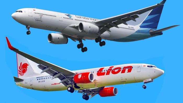 Pesawat garuda lion.ilustrasi