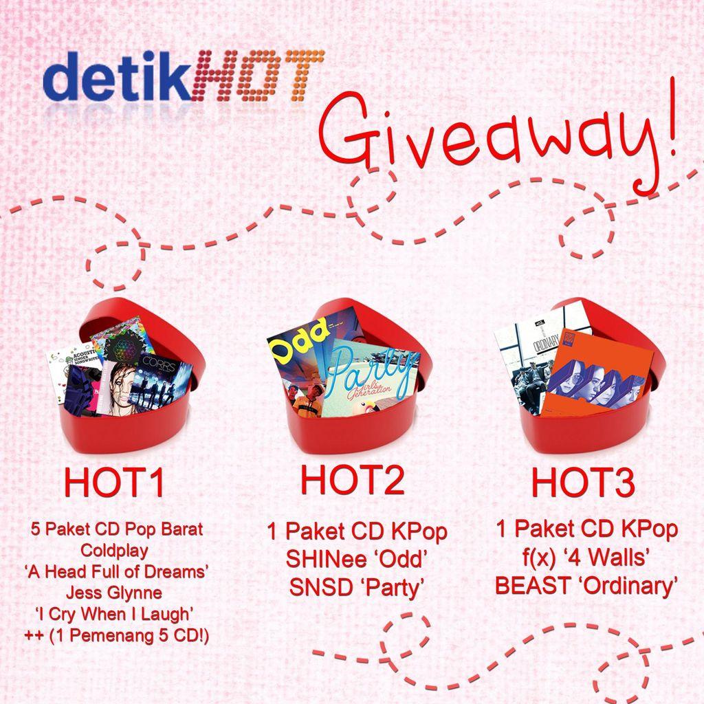 Yuk, Ikutan Giveaway Valentine detikHOT Berhadiah CD Coldplay dan KPop!