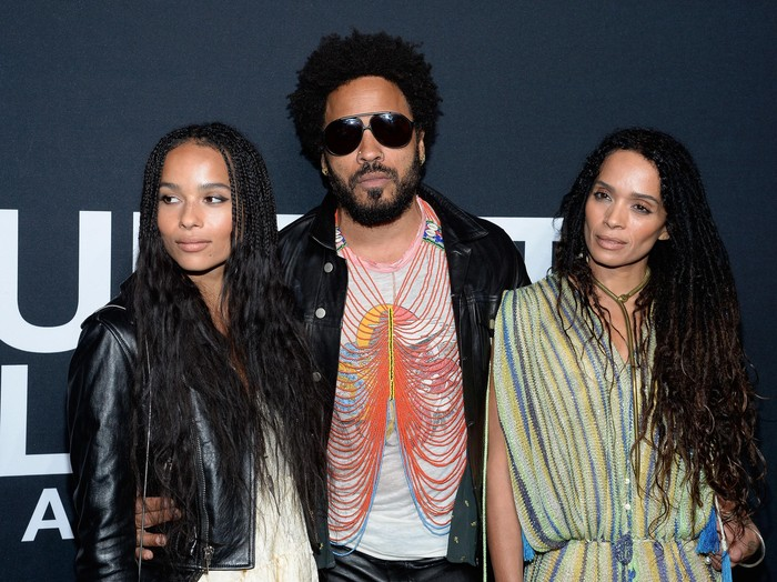 LOS ANGELES, CA - FEBRUARY 10:  Musician Lenny Kravitz (center) and actresses Zoe Kravitz (L) and Lisa Bonet R) attend the Saint Laurent show at The Hollywood Palladium on February 10, 2016 in Los Angeles, California.  (Photo by Kevork Djansezian/Getty Images)