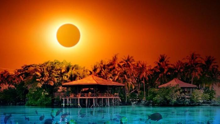 ilustrasi gerhana matahari total maratua