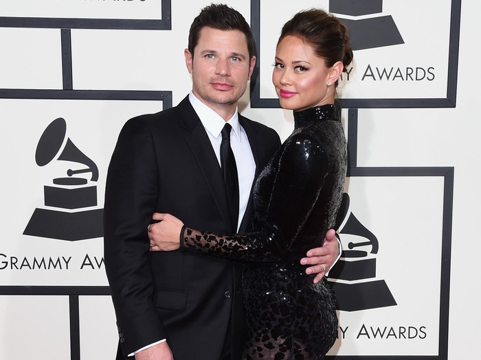 LOS ANGELES, CA - FEBRUARY 15:  TV personalities Nick Lachey and Vanessa Lachey attend The 58th GRAMMY Awards at Staples Center on February 15, 2016 in Los Angeles, California.  (Photo by Jason Merritt/Getty Images for NARAS)