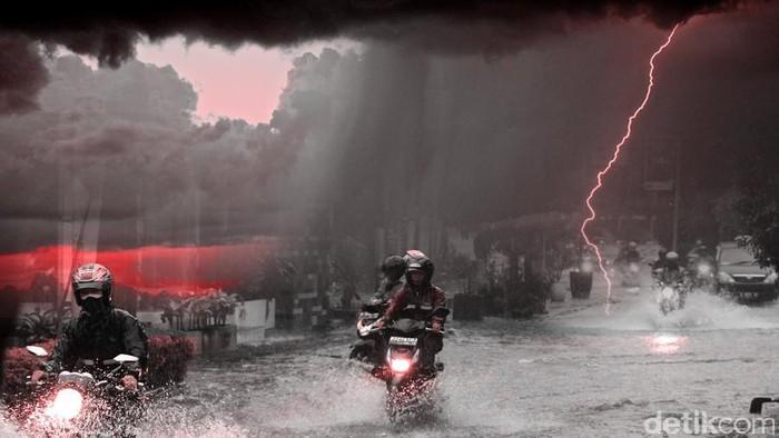 Ilustrasi Hujan Deras Angin Kencang Genangan Air