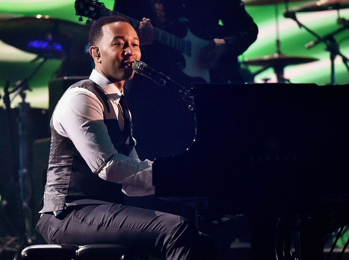 LOS ANGELES, CA - FEBRUARY 15:  Singer John Legend performs onstage during The 58th GRAMMY Awards at Staples Center on February 15, 2016 in Los Angeles, California.  (Photo by Kevork Djansezian/Getty Images)
