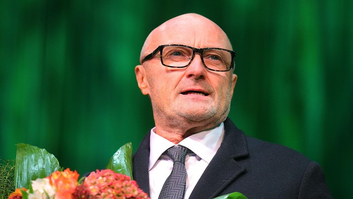 STUTTGART, GERMANY - NOVEMBER 21:  Phil Collins is seen on the stage after the Stuttgart Premiere of the musical Tarzan  at Stage Apollo Theater on November 21, 2013 in Stuttgart, Germany.  (Photo by Thomas Niedermueller/Getty Images)