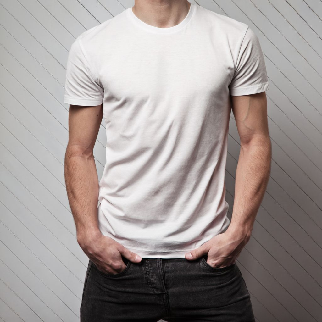 blank white t-shirt on muscle man