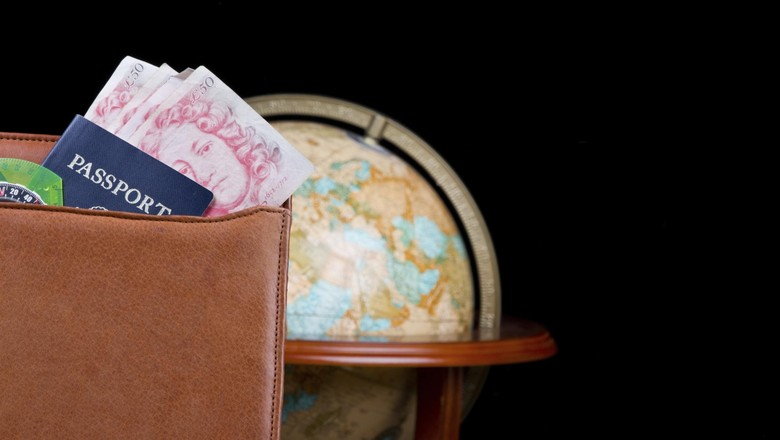 Leather binder with Passport, British Pounds and Globe
