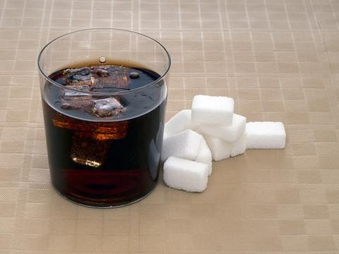 Sugar, calories in fizzy carbonated soft drinks, cola.