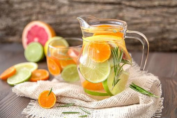 Detox Water with citruses and rosemary