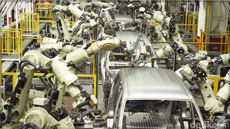 Ilustrasi pabrik mobil.