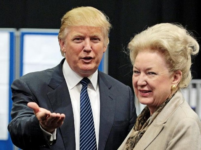 Donald Trumps sister, Maryanne Trump Barry (R), a federal appellate judge in Philadelphia, has received a threatening letter similar to one received by one of the Republican presidential frontrunners sons, media reports said on March 21, 2016 (AFP Photo/Ed Jones)
