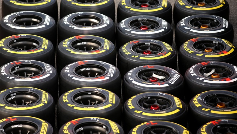 MONZA, ITALY - SEPTEMBER 03:  Sets of Pirelli tyres are laid out on the floor outside the McLaren garage during previews to the Formula One Grand Prix of Italy at Autodromo di Monza on September 3, 2015 in Monza, Italy.  (Photo by Bryn Lennon/Getty Images)
