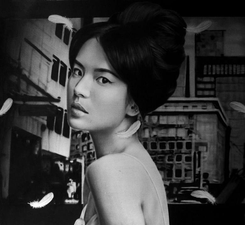 Menjamurnya KPop, Seniman Danni Febriana Bikin Lukisan Song Hye Kyo