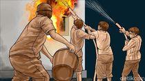 Tumpukan Ban dan Gubuk di Tanah Abang Terbakar, Asap Hitam Membubung