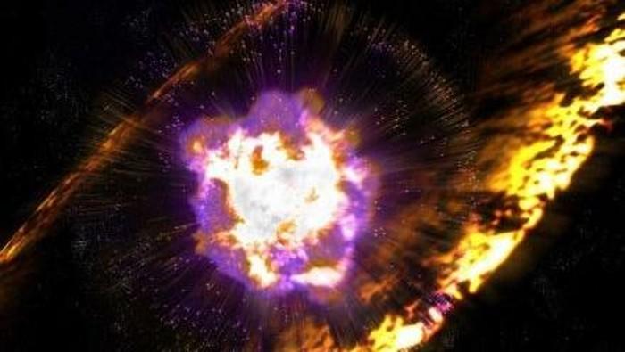 Ilustrasi ledakan bintang. Foto: Supernova (ledakan bintang terbesar) kemungkinan meningkatkan sinar kosmik yang masuk ke Bumi sebanyak 15%. (Foto: Greg Stewart SLAC National Accelerator Laboratory) (Credit: ABC licensed)