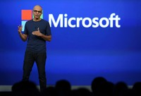 SAN FRANCISCO, CA - APRIL 02:  Microsoft CEO Satya Nadella delivers a keynote address during the 2014 Microsoft Build developer conference on April 2, 2014 in San Francisco, California. Satya Nadella delivered the opening keynote to kick off the 2014 Microsoft Build developer conference which runs through April 4.  (Photo by Justin Sullivan/Getty Images)