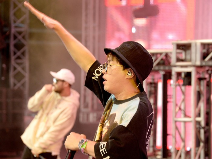 INDIO, CA - APRIL 17:  (L-R)  Mithra Jin, DJ Tukutz,  and Tablo of Epik High perform onstage during day 3 of the 2016 Coachella Valley Music And Arts Festival Weekend 1 at the Empire Polo Club on April 17, 2016 in Indio, California.  (Photo by Michael Tullberg/Getty Images for Coachella)