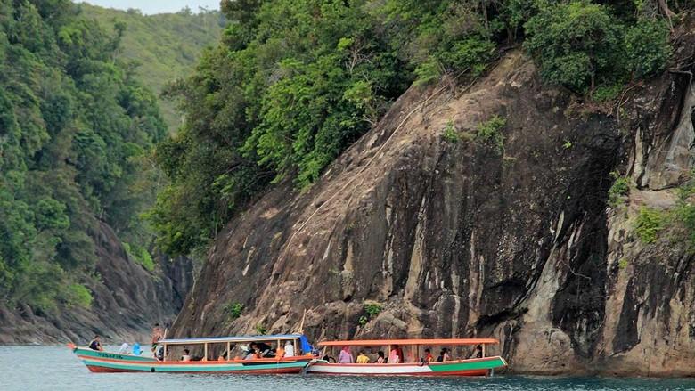 Pulau Sironjong Kecil yang jadi spot cliff jumping di Mandeh (Randy/detikTravel)