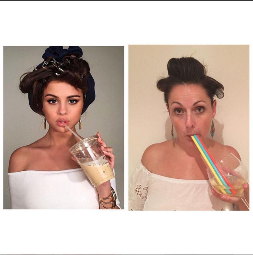 Adalah pengguna Instagram bernama Celeste Barber yang melakukan eksperimen mengikuti gaya foto seleb dunia. Tak hanya gaya yang dibuat mirip, pilihan baju dan penataan rambut juga coba dijiplak. Seperti gaya Selena Gomez ini. Foto: instagram/celestebarber