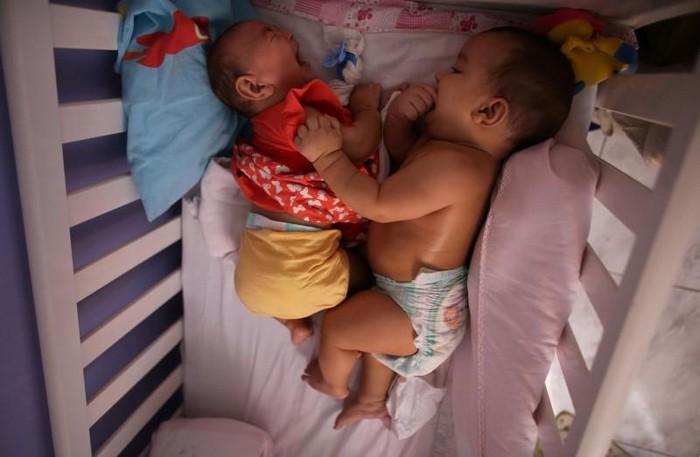 Lucas dan Laura merupakan anak dari Jaqueline Jessica Silva de Oliveira (25). Jaqueline mengalami gejala Zika di awal kehamilannya. Hal ini membuat Laura lahir dengan mikrosefali. Uniknya, gangguan tersebut tak dialami oleh saudara kembarnya, Lucas. (Reuters/Nacho Doce)