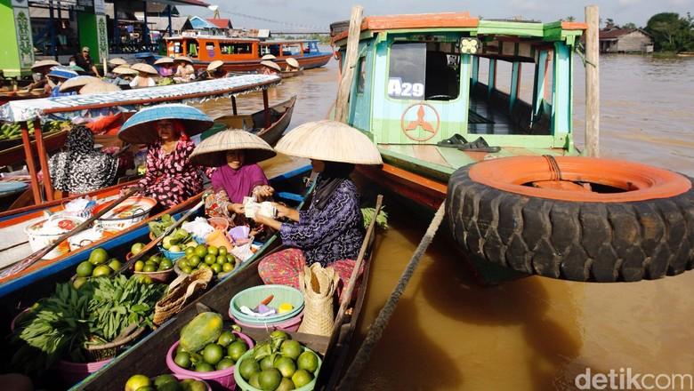 Ilustrasi, keadaan Pasar Terapung Lok Baintan, Kalimantan Selatan (Rachman Haryanto/detikTravel)