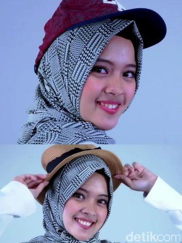Tutorial Hijab Dengan Topi Untuk Liburan Di Akhir Pekan