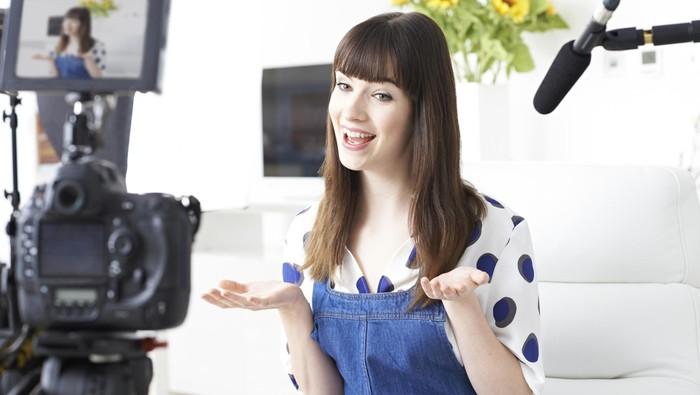 Female Vlogger Presenting Make Up Tutorial Video