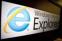 The logo of Microsoft Corp.s Internet Explorer 9 is displayed on a computer monitor in Washington, D.C., U.S., on Tuesday, March 15, 2011. Microsoft released a speedier version of its Internet Explorer browser that adds privacy controls and video features, a bid to regain market share lost to Firefox and Google Inc.s Chrome. Photographer: Andrew Harrer/Bloomberg via Getty Images