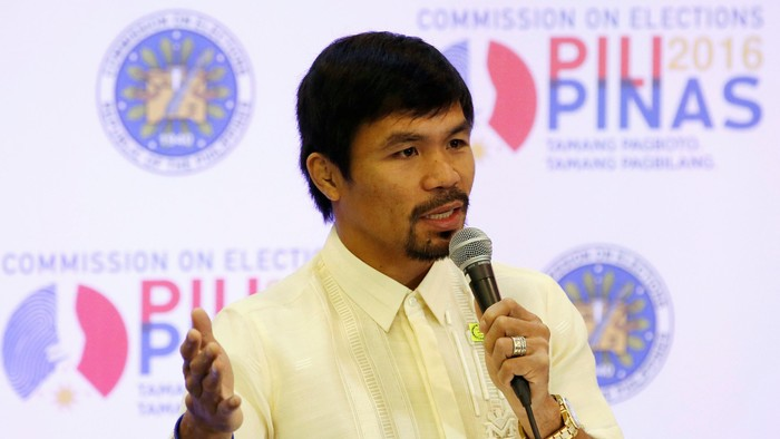 Philippine boxing star and Senator Manny Pacquiao speaks during a news conference after being proclaimed by elections officials as one of the new members of the upper house of Congress in Manila, Philippines May 19, 2016.   REUTERS/Erik De Castro