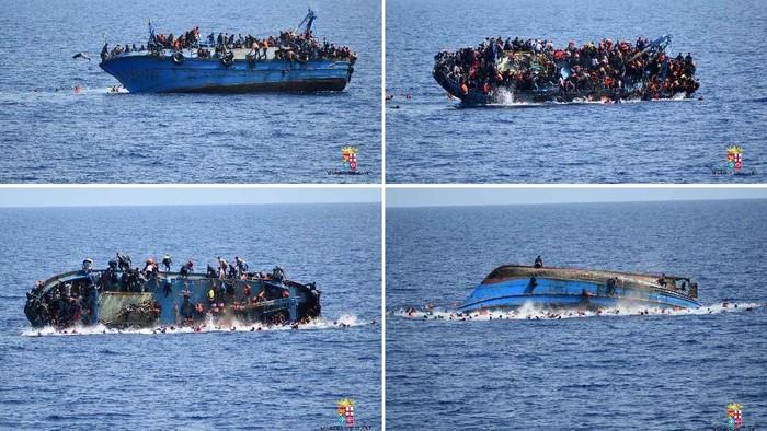 Kapal migran asal Libya terbalik di laut Mediterania