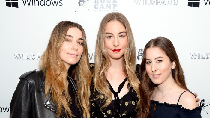 LOS ANGELES, CA - APRIL 29:  (L-R) Recording artists Danielle Haim, Este Haim, and Alana Haim of HAIM attend the first annual Girls To The Front event benefiting Girls Rock Camp Foundation at Chateau Marmont on April 29, 2016 in Los Angeles, California.  (Photo by Matt Winkelmeyer/Getty Images)