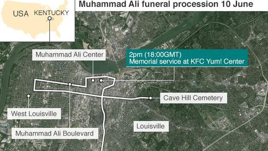 Jenazah Muhammad Ali Akan Dibawa Keliling Kota Louisville, Ini Rutenya