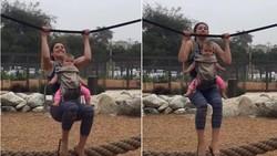 Melanie Darnell (30) berusaha rutin olahraga. Meski untuk melakukannya ia harus pintar-pintar memutar otak agar bisa olahraga sambil menjaga sang anak.