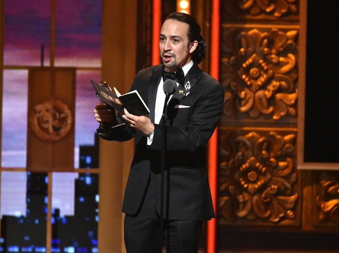 NEW YORK, NY - JUNE 12:  Songwriter Lin-Manuel Miranda accepts the award for Best Book of A Musical for Hamilton onstage during the 70th Annual Tony Awards at The Beacon Theatre on June 12, 2016 in New York City.  (Photo by Theo Wargo/Getty Images for Tony Awards Productions)