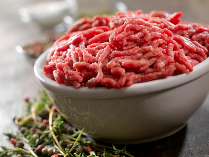 Raw Ground Beef with Fresh Herbs and Spices- Photographed on Hasselblad H3D2-39mb Camera