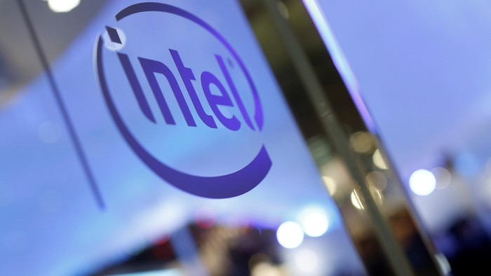 The logo of Intel is seen during the annual Computex computer exhibition in Taipei, Taiwan June 1, 2016. REUTERS/Tyrone Siu