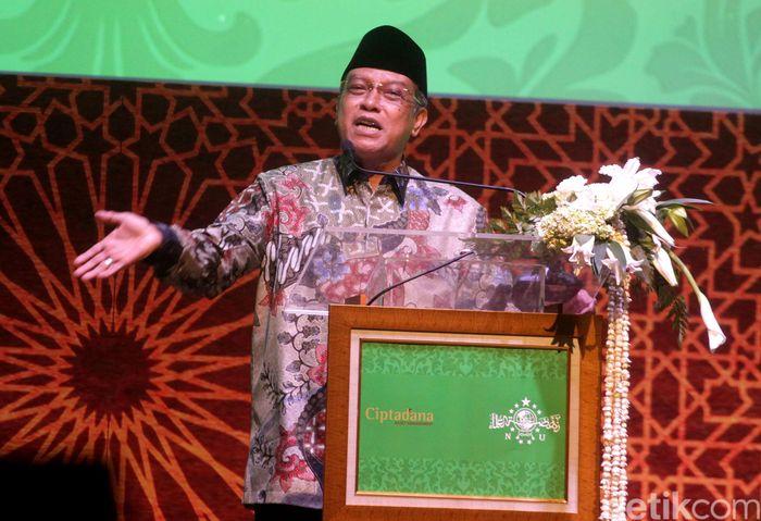 Ketua Umum PBNU Said Aqil Siradj memberikan sambutan.