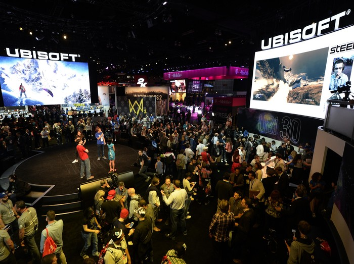 LOS ANGELES, CA - JUNE 14: Gamers walk in the Ubisoft  booth to try out new video games during annual E3 Gaming Conference at the Los Angeles Convention Center on June 14, 2016 in Los Angeles, California. (Photo by Kevork Djansezian/Getty Images)