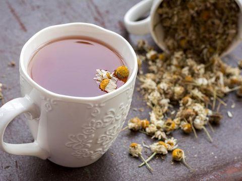 Chamomile tea on a tray