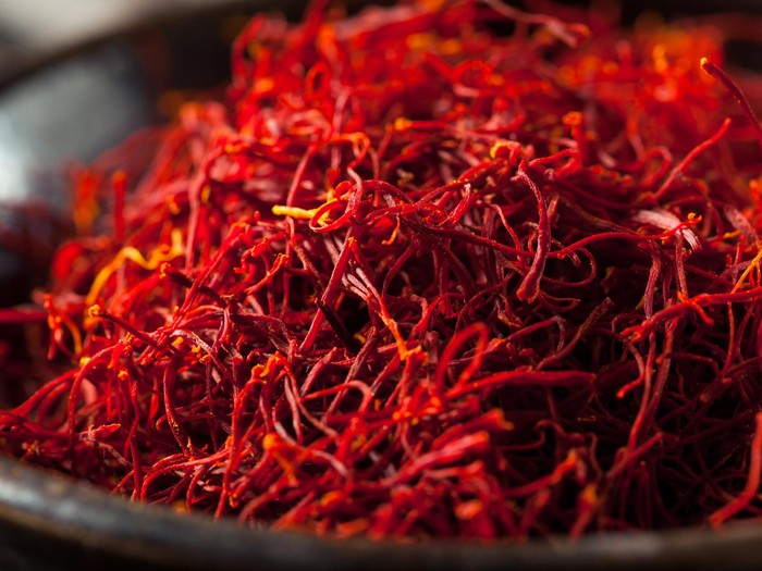 Raw Organic Red Saffron Spice in a Bowl