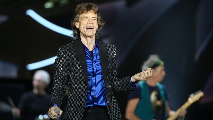AUCKLAND, NEW ZEALAND - NOVEMBER 22:  Lead Singer Mick Jagger in action as The Rolling Stones perform live at Mt Smart Stadium on November 22, 2014 in Auckland, New Zealand.  (Photo by Fiona Goodall/Getty Images)