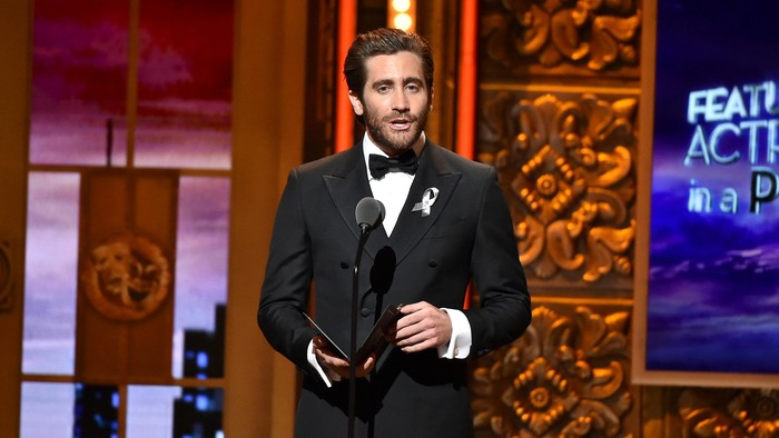 NEW YORK, NY - JUNE 12:  Presenter Jake Gyllenhaal speaks onstage during the 70th Annual Tony Awards at The Beacon Theatre on June 12, 2016 in New York City.  (Photo by Theo Wargo/Getty Images for Tony Awards Productions)
