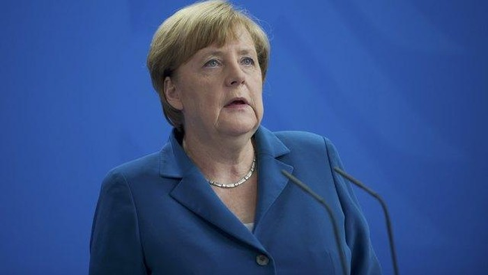 German Chancellor Angela Merkel at the Chancellery in Berlin after a shooting rampage at the Olympia shopping mall in Munich, Germany July 23, 2016. REUTERS/Stefanie Loos